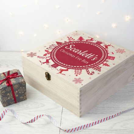 Large Personalised Wooden Snowflake Christmas Eve Box - 4 Colours